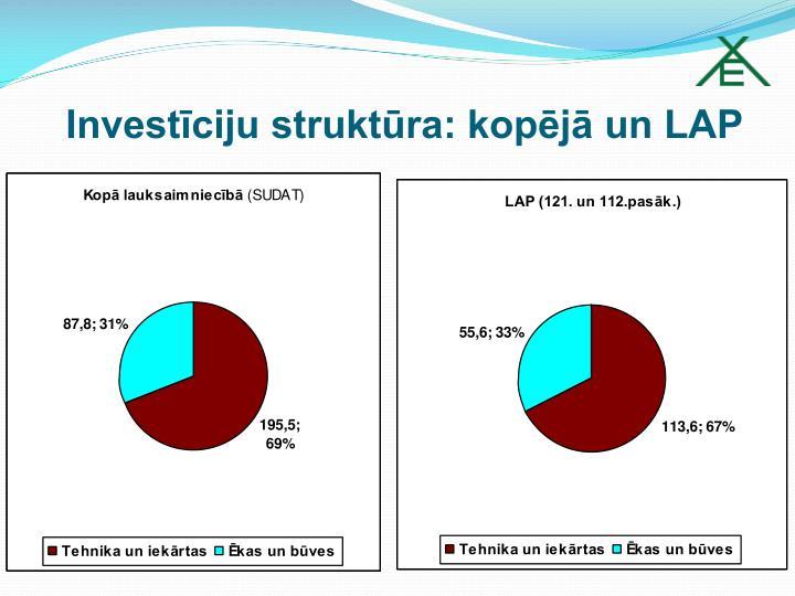 Investīciju struktūra: kopējā un LAP