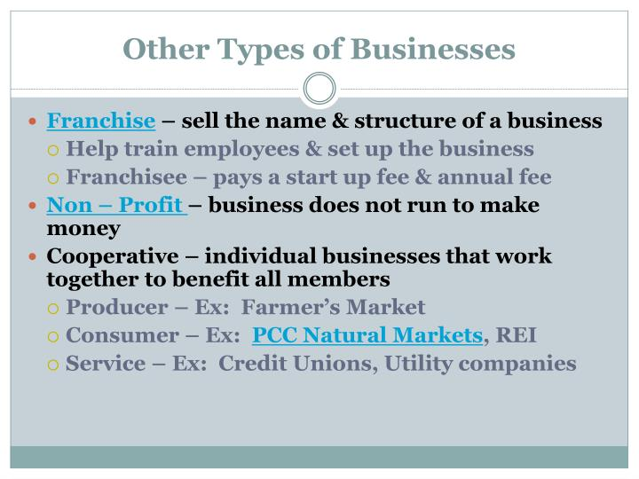 Other Types of Businesses