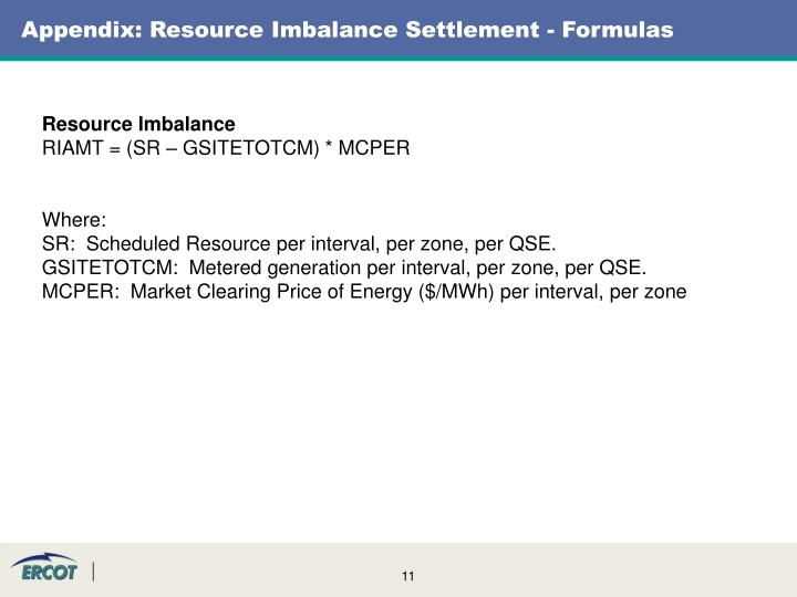 Appendix: Resource Imbalance Settlement - Formulas