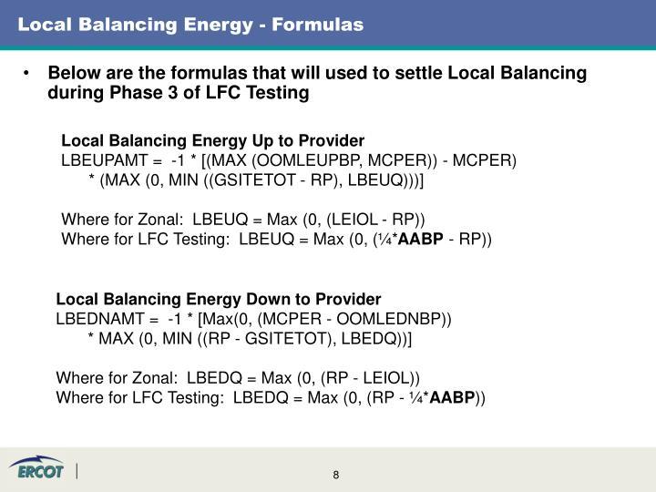 Local Balancing Energy - Formulas