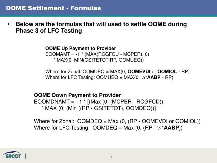 OOME Settlement - Formulas