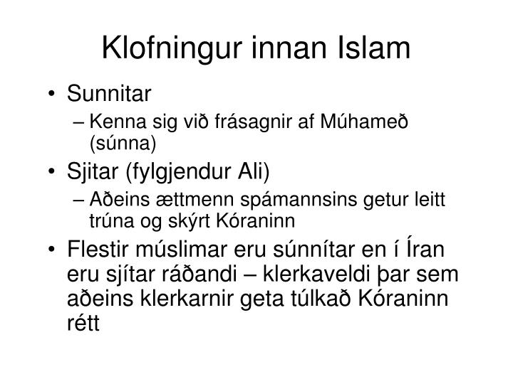 Klofningur innan Islam