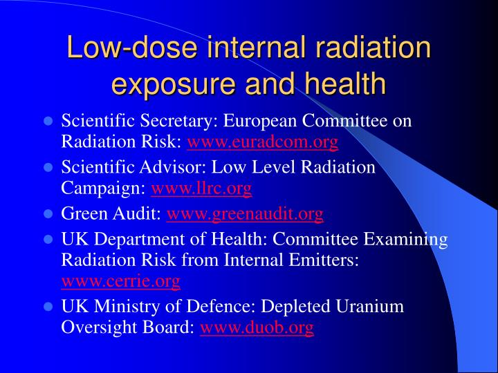 Low-dose internal radiation exposure and health