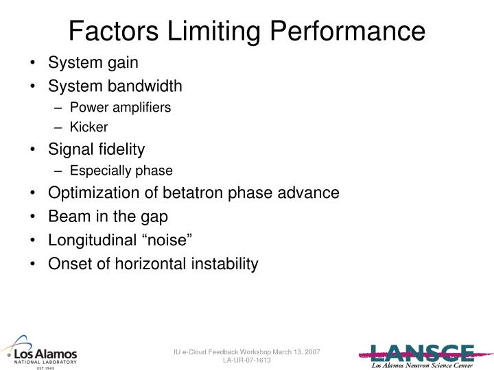 Factors Limiting Performance