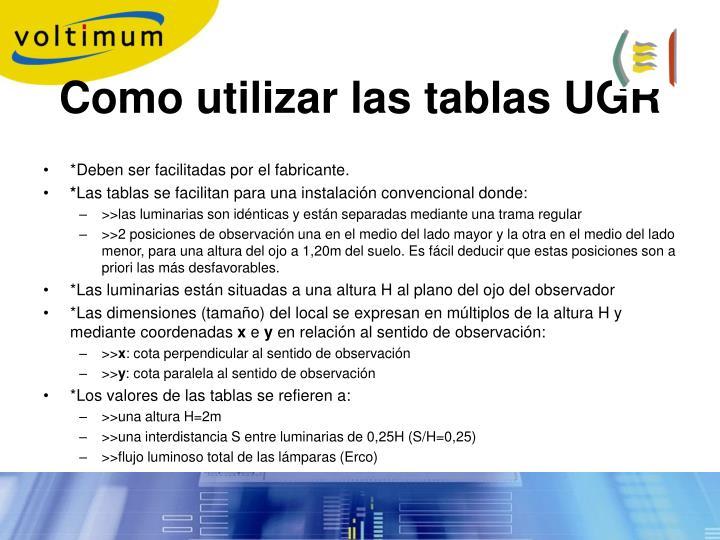 Como utilizar las tablas UGR