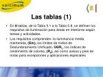 las tablas 1