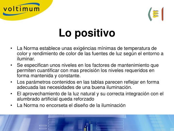 Lo positivo