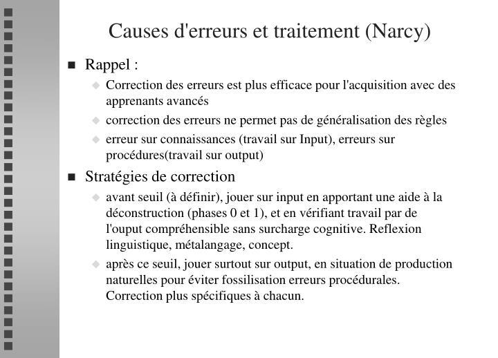 Causes d'erreurs et traitement (Narcy)