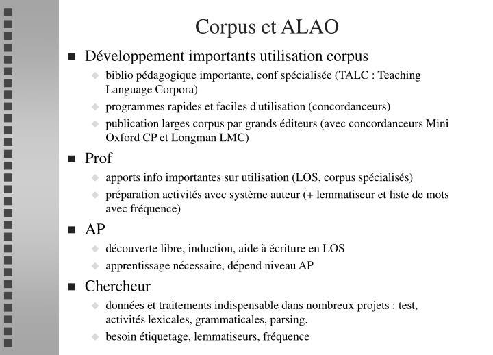 Corpus et ALAO