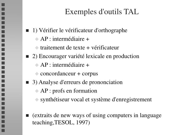 Exemples d'outils TAL