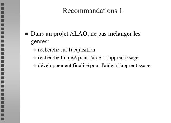 Recommandations 1