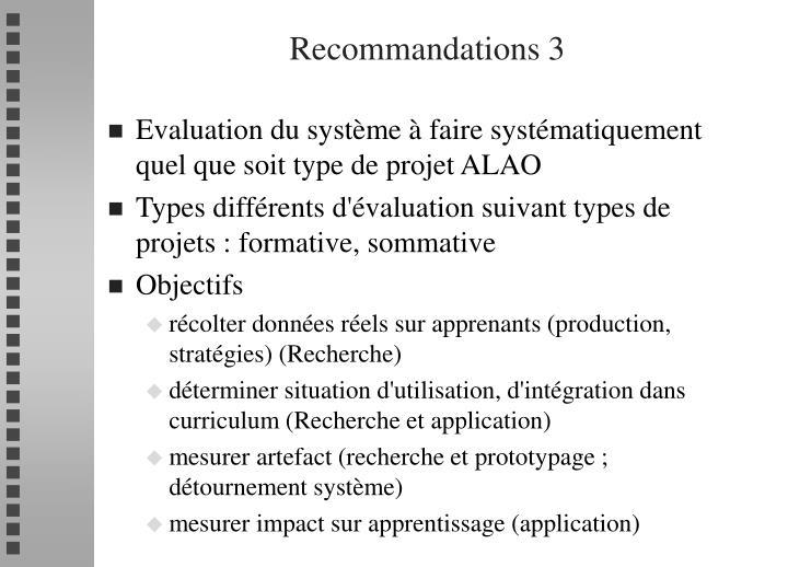 Recommandations 3