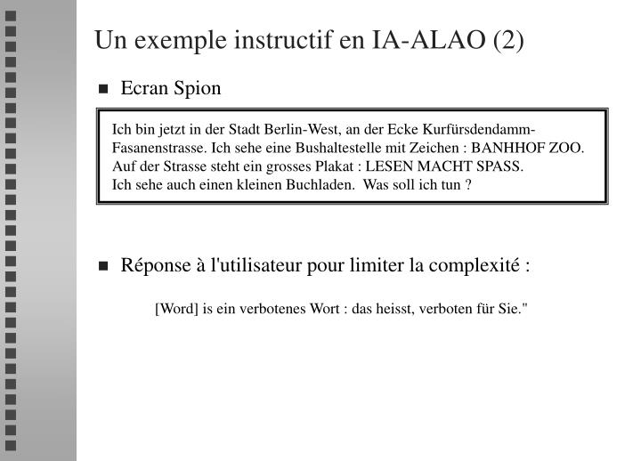 Un exemple instructif en IA-ALAO (2)