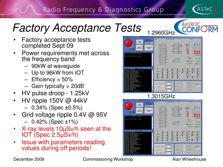 Factory Acceptance Tests