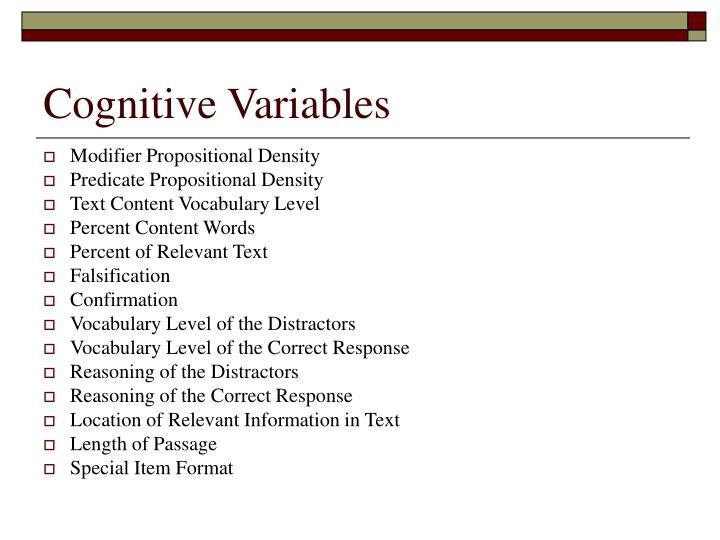 Cognitive Variables