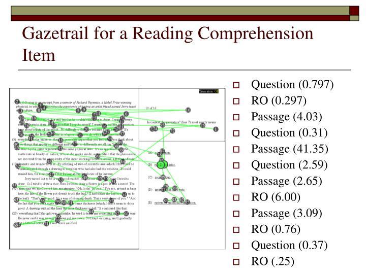 Gazetrail for a Reading Comprehension Item