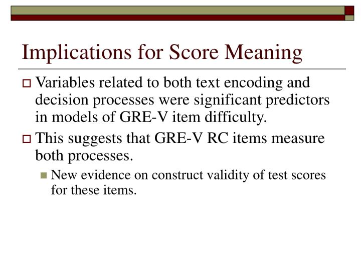 Implications for Score Meaning