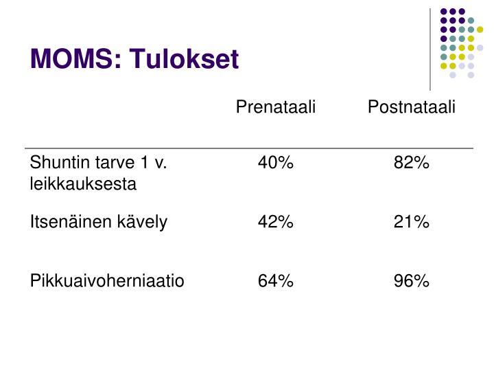 MOMS: Tulokset
