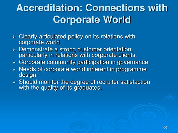 Accreditation: Connections with Corporate World