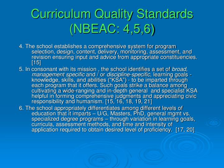 Curriculum Quality Standards