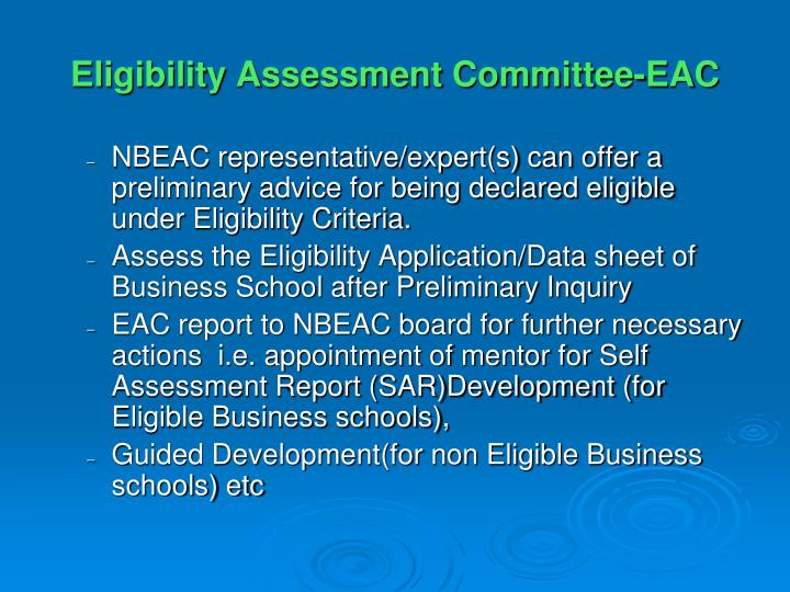Eligibility Assessment Committee-EAC