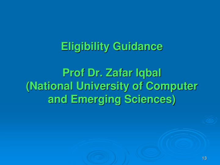 Eligibility Guidance