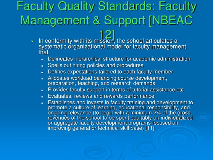 Faculty Quality Standards: Faculty Management & Support [NBEAC 12]