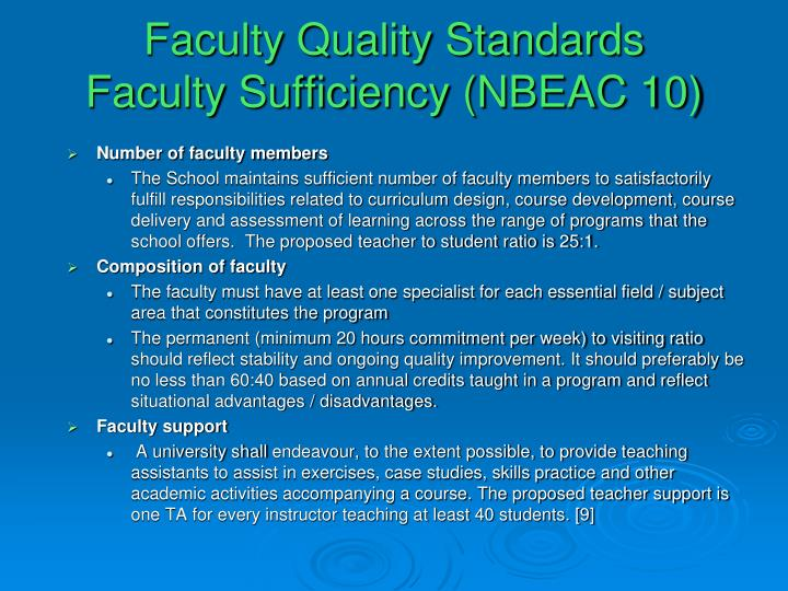Faculty Quality Standards