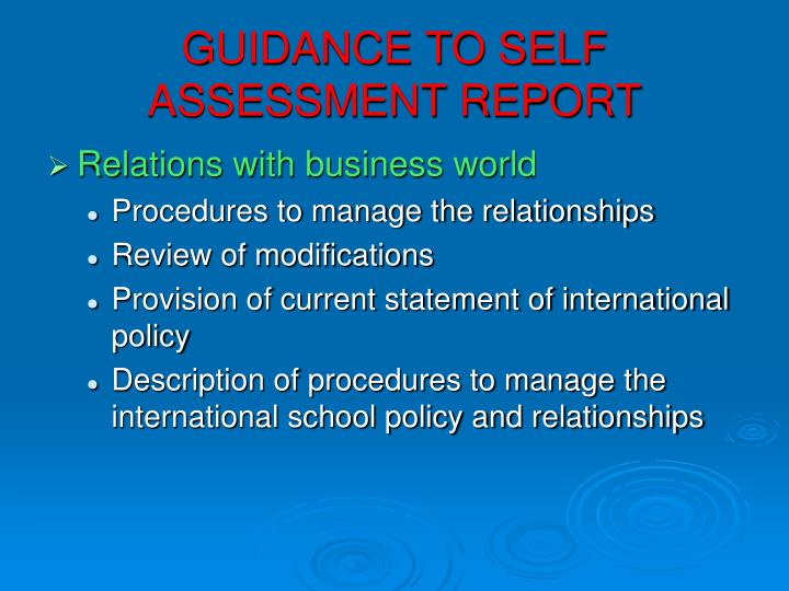 GUIDANCE TO SELF ASSESSMENT REPORT