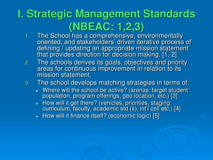 I. Strategic Management Standards