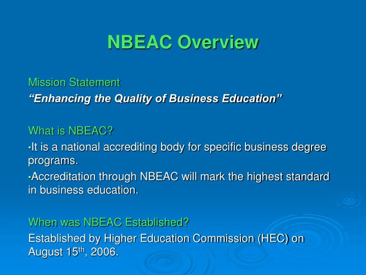 NBEAC Overview