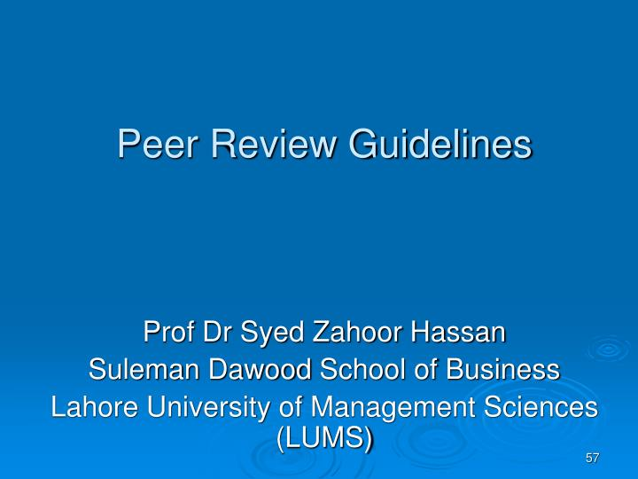 Peer Review Guidelines