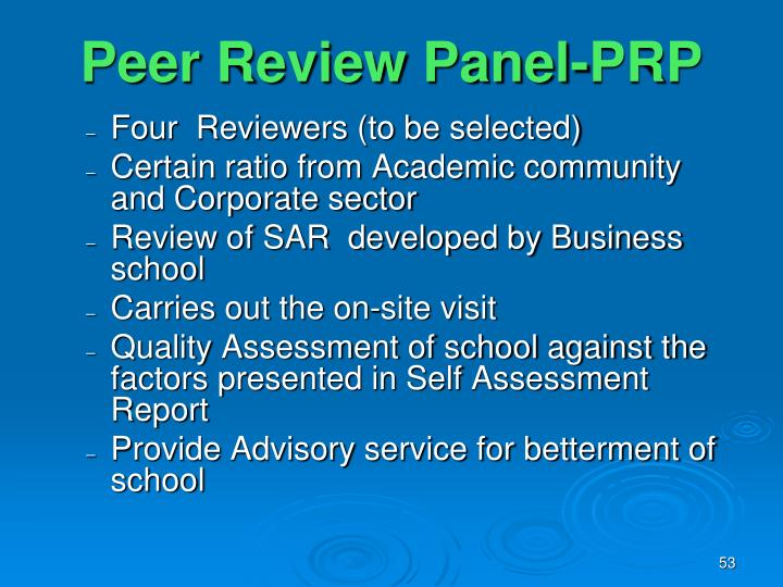 Peer Review Panel-PRP