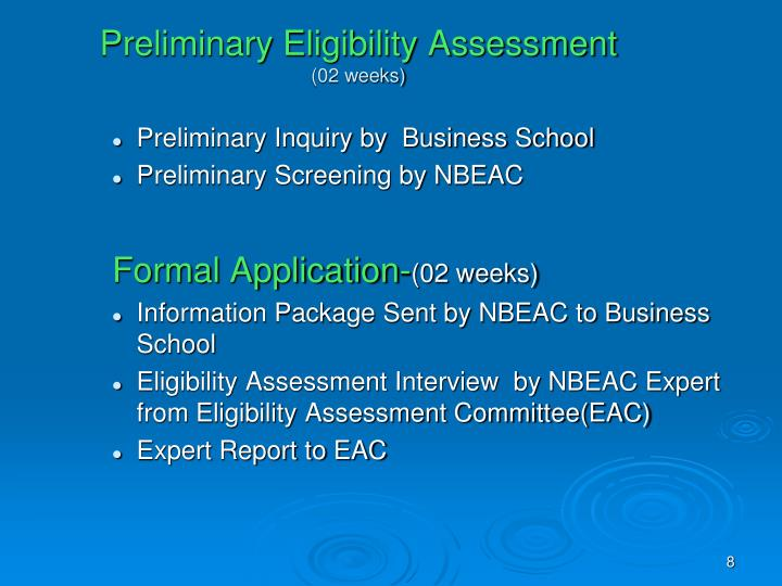 Preliminary Eligibility Assessment
