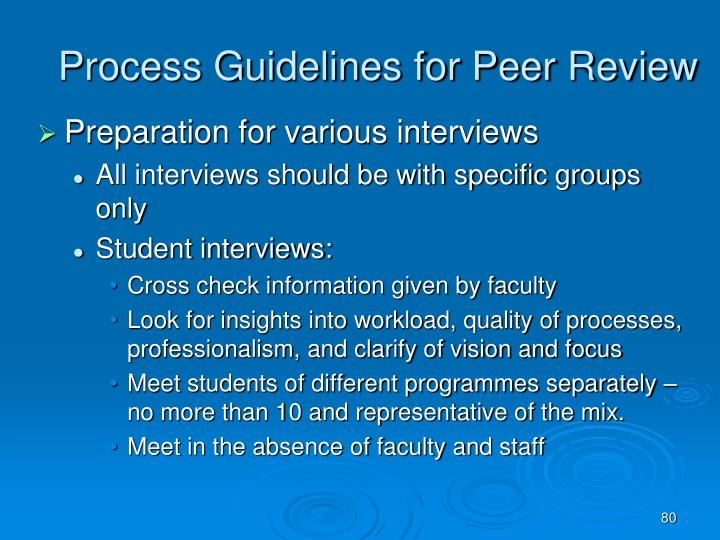 Process Guidelines for Peer Review