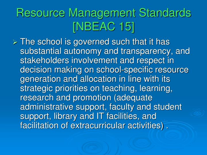 Resource Management Standards