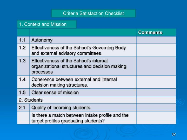 Criteria Satisfaction Checklist