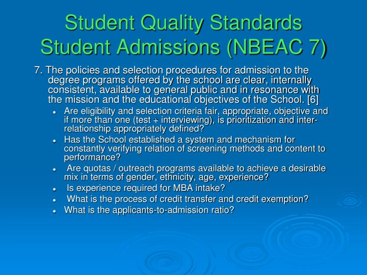 Student Quality Standards