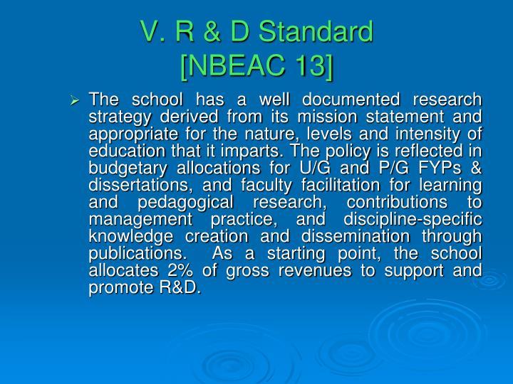 V. R & D Standard
