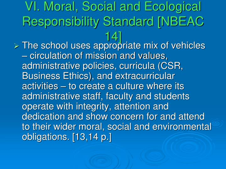 VI. Moral, Social and Ecological Responsibility Standard [NBEAC 14]