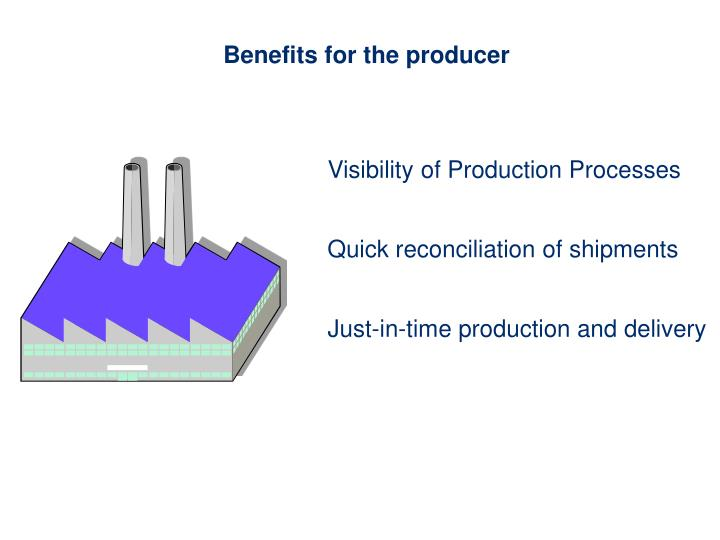 Benefits for the producer