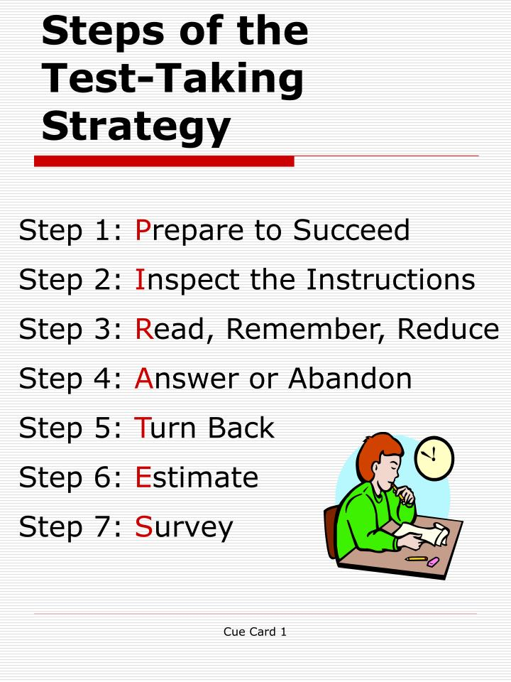 Steps of the test taking strategy