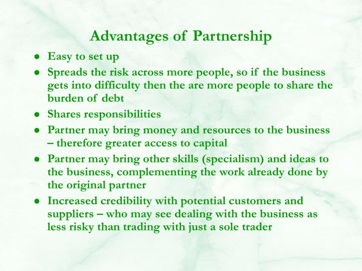 Advantages of Partnership