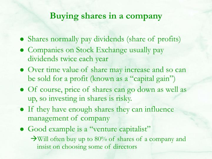 Buying shares in a company