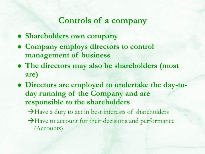 Controls of a company