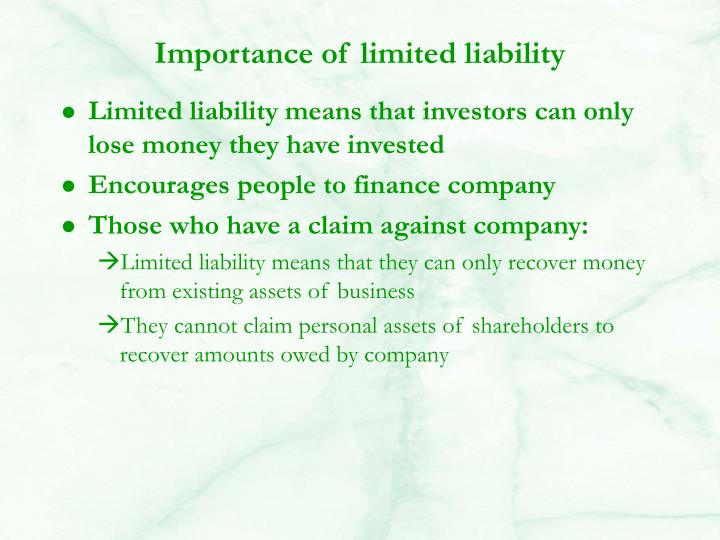 Importance of limited liability