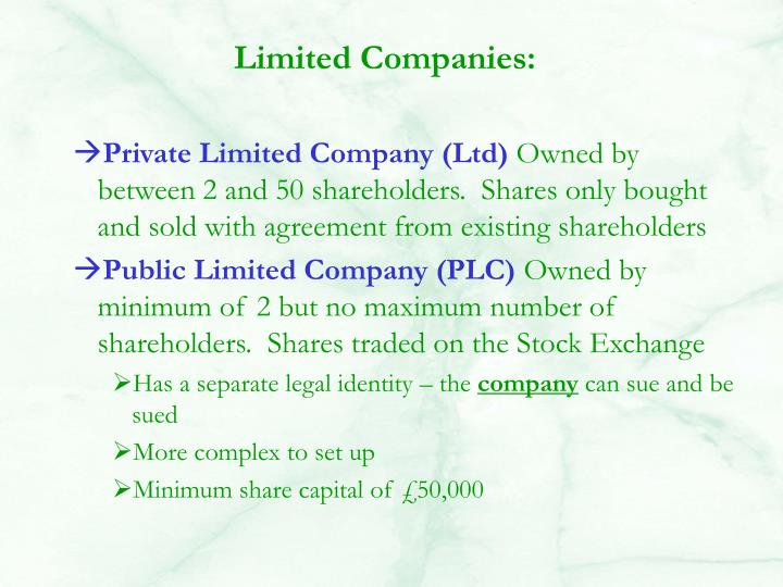 Limited Companies:
