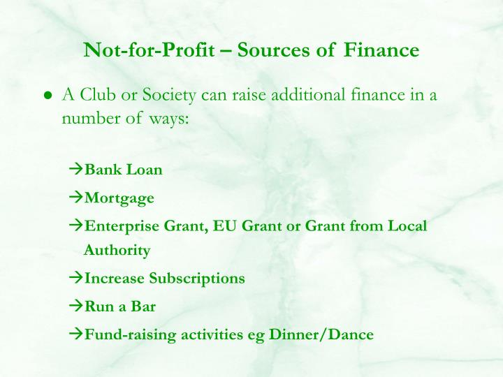 Not-for-Profit – Sources of Finance