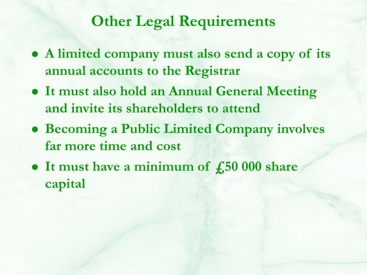 Other Legal Requirements