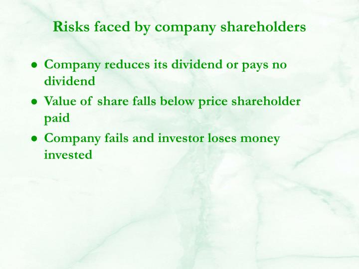 Risks faced by company shareholders